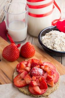 Galette d'avoine à la fraise pour une journée spéciale