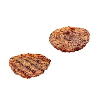 Galette de hamburger grillé isolé sur blanc