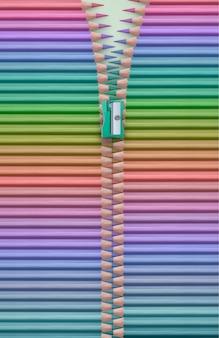 Gamme de couleurs avec des crayons formant une fermeture éclair