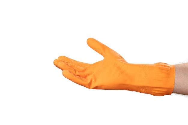 Gant de nettoyage des mains, gant en caoutchouc orange, pour la maison, le jardin, la protection. fond blanc isoler.