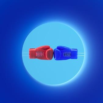 Gants de boxe bleus et rouges