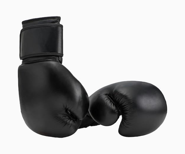 Gants de boxe noirs isolés sur fond blanc. vêtements de sport