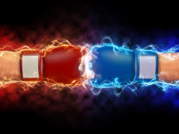 Gants de boxe et vagues d'énergie dans le rendu 3d