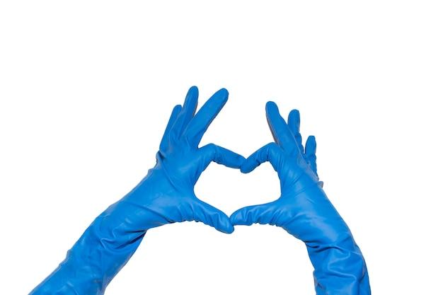 Gants en caoutchouc bleu pour le nettoyage, amour du nettoyage
