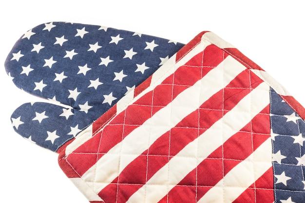 Gants de cuisine motif drapeau américain résistant à la chaleur.
