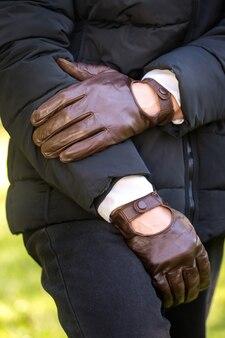 Gants pour hommes marron en cuir véritable
