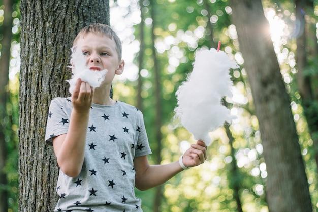 Garçon 7-10 mangeant de la barbe à papa dans un parc ensoleillé, parmi de grands arbres sur l'herbe verte