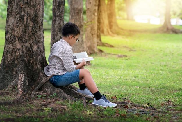 Garçon asiatique assis près d'un tronc d'arbre dans le parc et livre de lecture