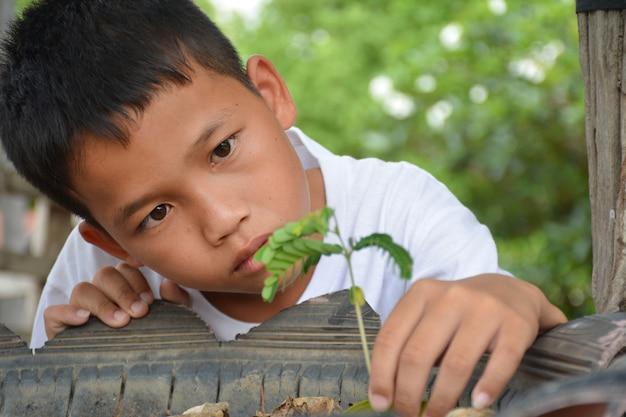 Garçon asiatique étreignant un treelove world concept et conservation de la nature