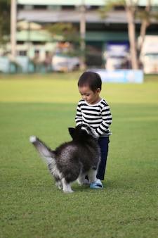 Un garçon asiatique joue avec un chiot sibérien.