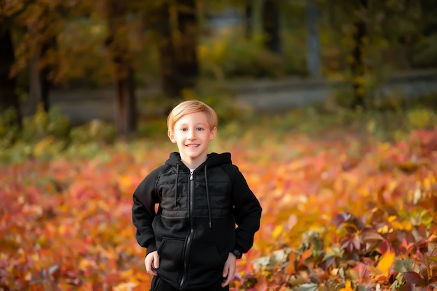 Garçon sur le fond d'un parc jaune d'automne.