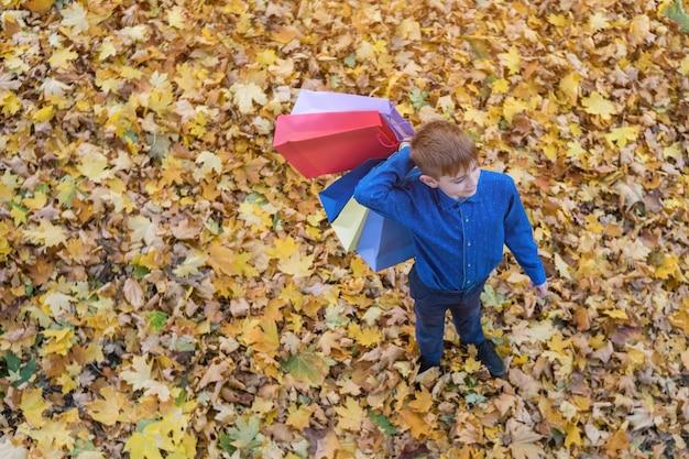 Garçon marchant dans le parc tenant des sacs à provisions. achat à l'école. vue de dessus.