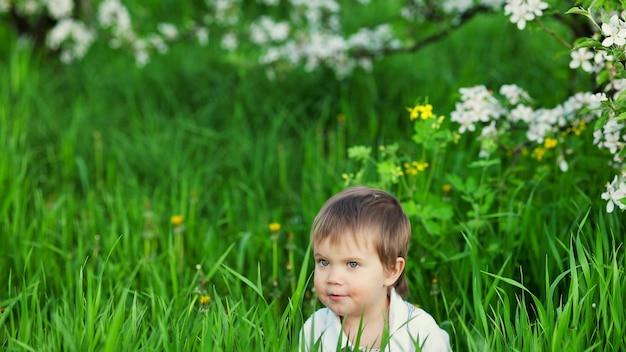 Un garçon mignon aux yeux bleus expressifs dans une combinaison à la mode sourit drôlement et se cache dans les hautes herbes vertes