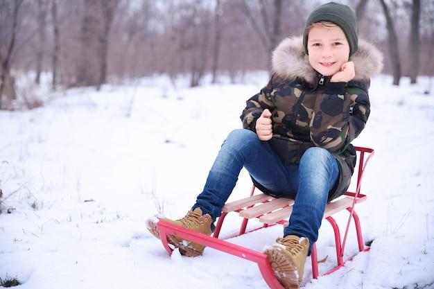 Garçon mignon avec traîneau dans le parc enneigé en hiver