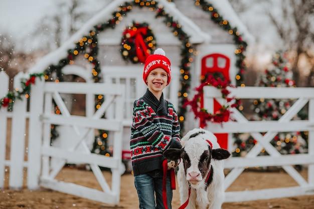 Garçon posant avec taureau noir et blanc à la ferme de noël blanche. il neige.