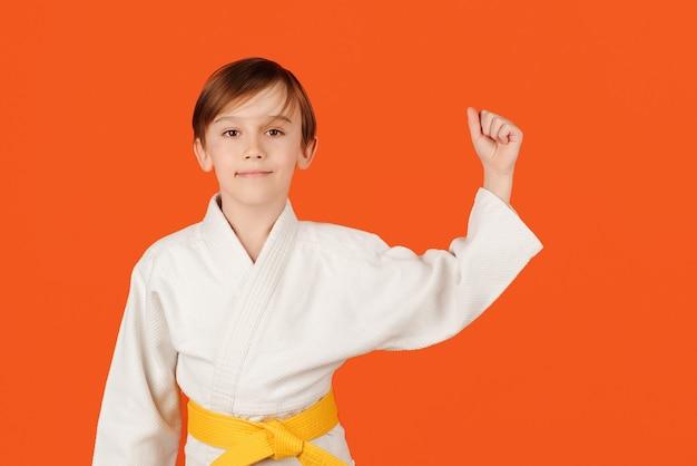 Garçon pratiquant le karaté sur l'espace de copie de fond de couleur kid sport concept