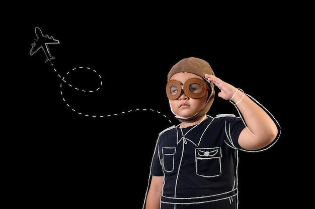 Le garçon prétend être un super-héros et joue comme un astronaute. dessiner concept