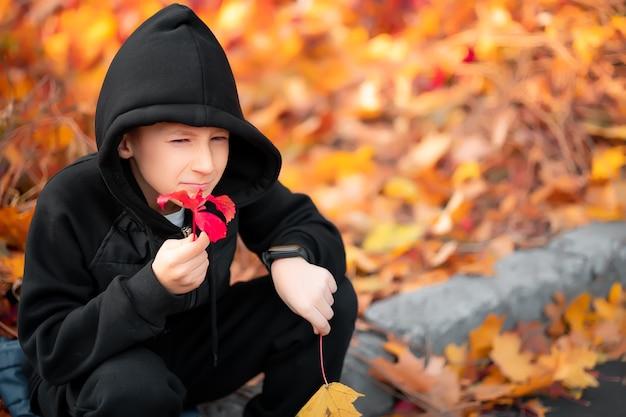 Le garçon, qui porte une veste à capuche noire, tient une feuille d'automne à la main.