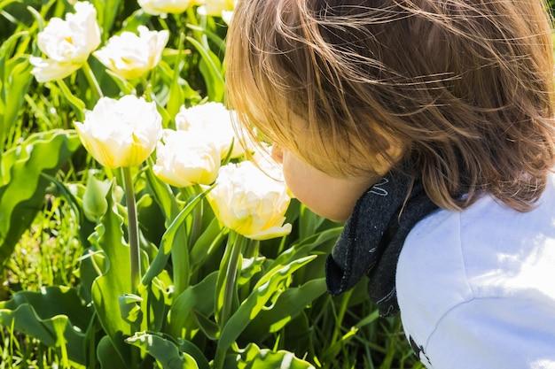 Un garçon qui sent les fleurs dans le champ