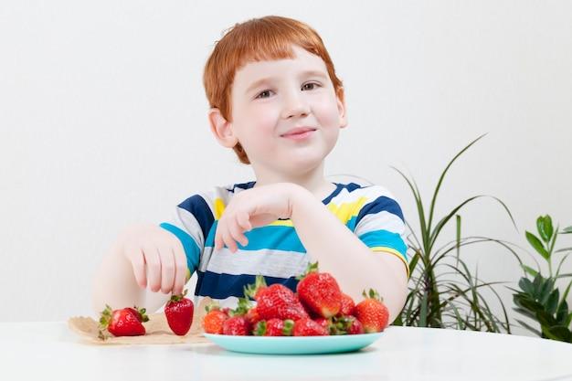 Garçon rousse, manger des fraises rouges mûres, gros plan enfant heureux