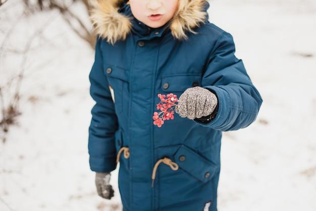 Garçon tenant une branche avec des baies, hiver, promenade dans le parc