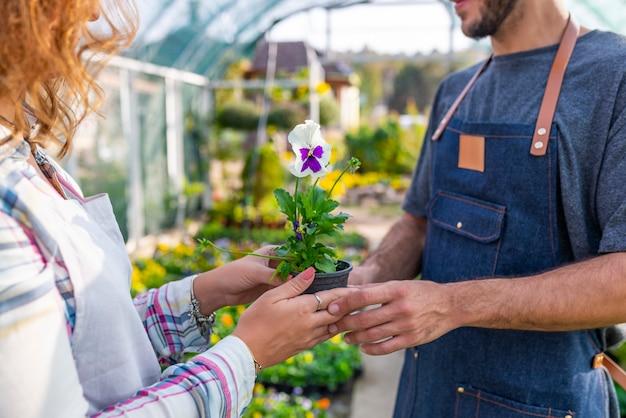 Gardner travaillant dans le centre de jardin