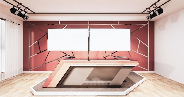 Garniture en aluminium d'or de conception de pièce de studio de nouvelles or sur le mur rouge, toile de fond pour des séries