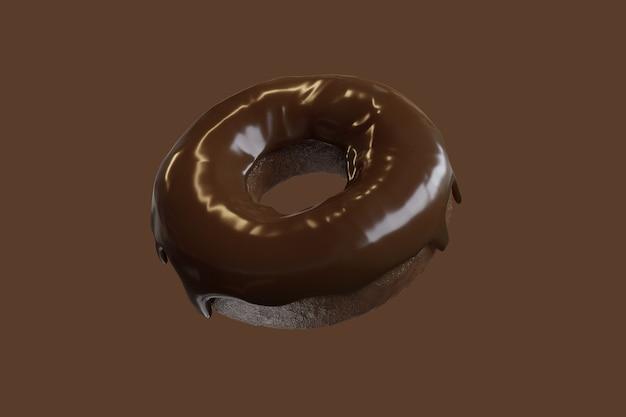 Garniture de beignet au chocolat en gros plan avec du chocolat isolé sur fond de couleur marron. rendu 3d.