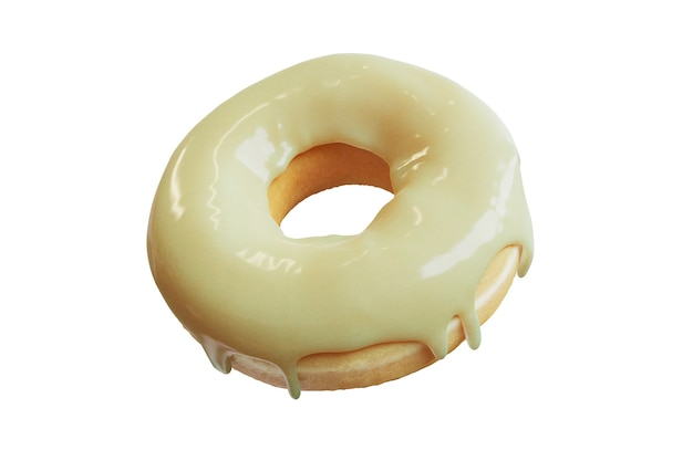 Garniture de beignet en gros plan avec des pépites de caramel isolées sur fond de couleur blanche. rendu 3d