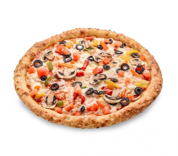 Garniture de pizza populaire dans les pizzerias de style américain sur blanc