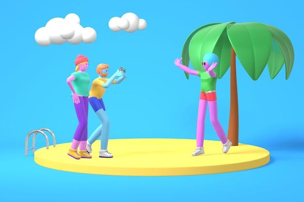 Un gars et deux filles avec des photos de peau bleue, rose et violette