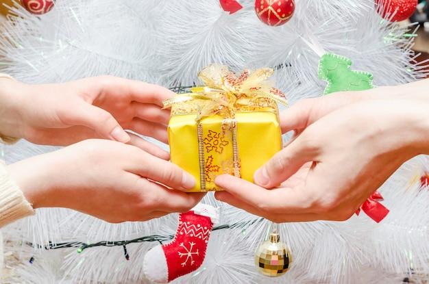 Le gars donne un cadeau à la fille contre le sapin de noël blanc. moment joyeux