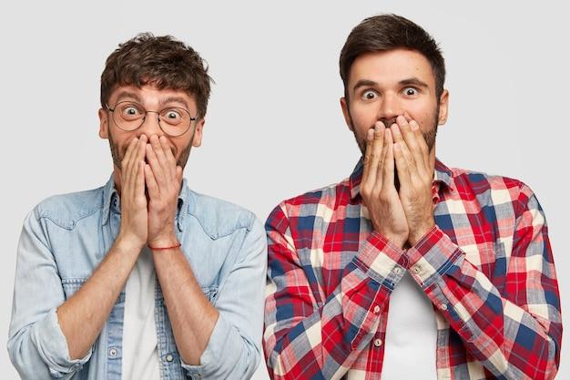 Les gars joyeux regardent avec bonheur, se couvrent la bouche, ont des expressions joyeuses, essayent d'arrêter de rire, voient quelque chose d'incroyable
