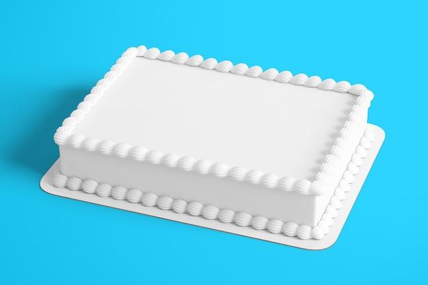 Gâteau d'anniversaire blanc uni de rendu 3d