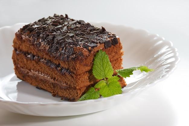 Gâteau au chocolat avec pépites de chocolat et menthe sur une plaque blanche