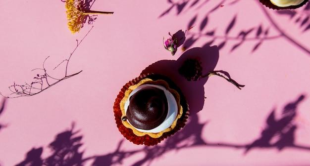 Gâteau au mascarpone et ombres de branche sur une surface rose.