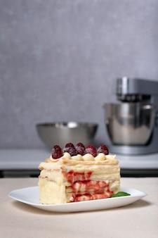 Gâteau au sirop de baies et framboises. morceau de gâteau aux fruits. cadre vertical.