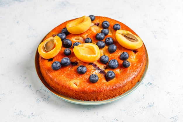 Gâteau aux abricots et myrtilles avec myrtilles fraîches et fruits abricots.