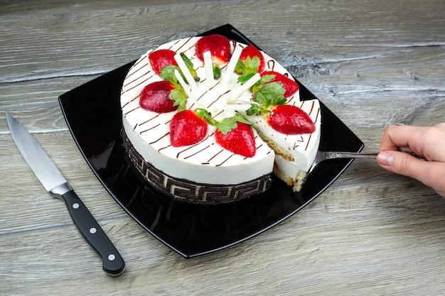 Gâteau aux fraises à la crème de vanille