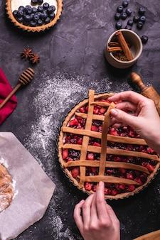 Gâteau aux pommes et aux cerises maison à la cannelle