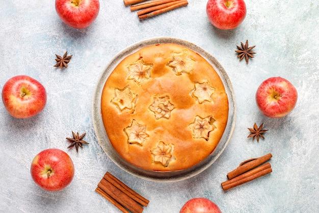 Gâteau aux pommes maison sucré à la cannelle.