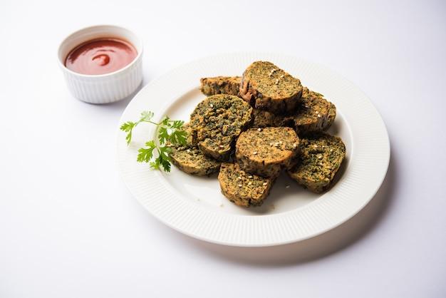 Le gâteau à la coriandre ou kothimbir vadi est une cuisine maharashtrian populaire à base de feuilles de coriandre