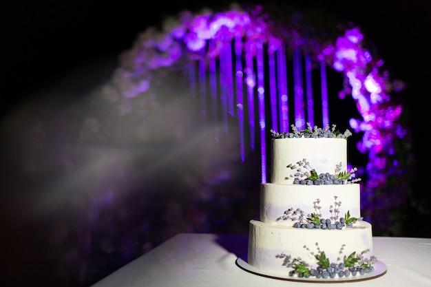 Gâteau de mariage blanc décoré de myrtilles