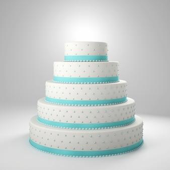 Gâteau de mariage avec des détails bleus