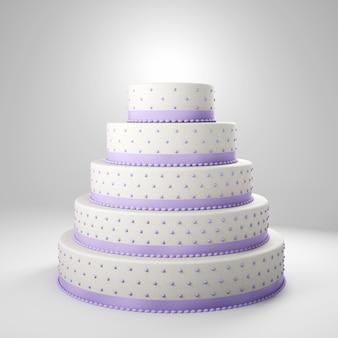Gâteau de mariage avec des détails lilas