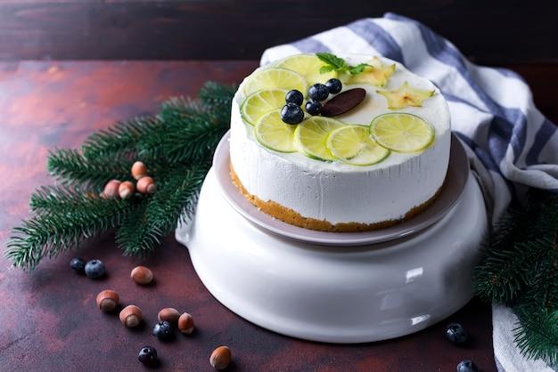 Gâteau mousse blanche du nouvel an