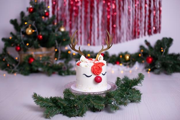 Gâteau de noël avec décoration