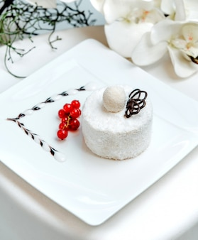 Gâteau de noix de coco blanche avec des canneberges sur la table