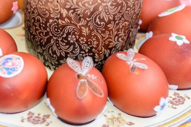 Gâteau de pâques et œufs de poule décorés disposés sur une assiette. tradition de pâques : on échange des œufs de poule et on dit : « jésus est ressuscité ! fêtes de pâques.