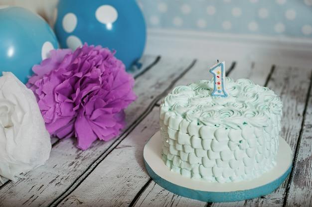 Gâteau pour le premier anniversaire. paysage